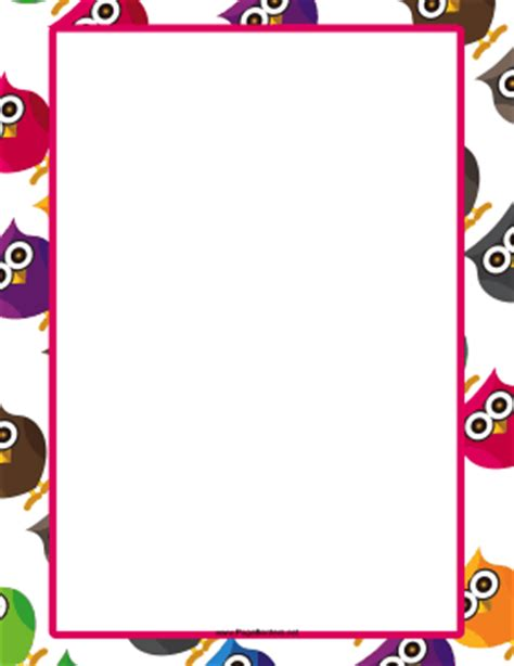 printable paper with owl border 8 best images of owl border printables printable owl