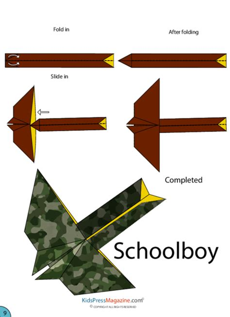 Origami Glider Plane - paper airplane schoolboy