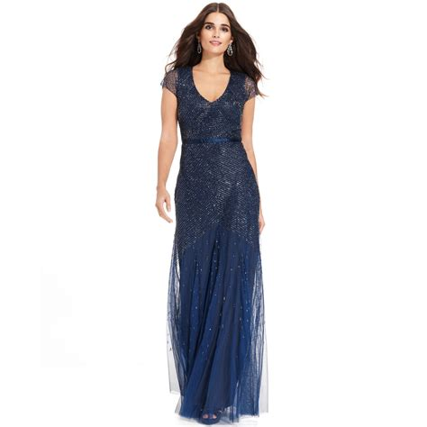 blue beaded gown papell cap sleeve geometric bead mesh gown in