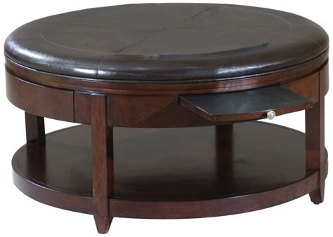 black leather wood ottoman coffee table with pull