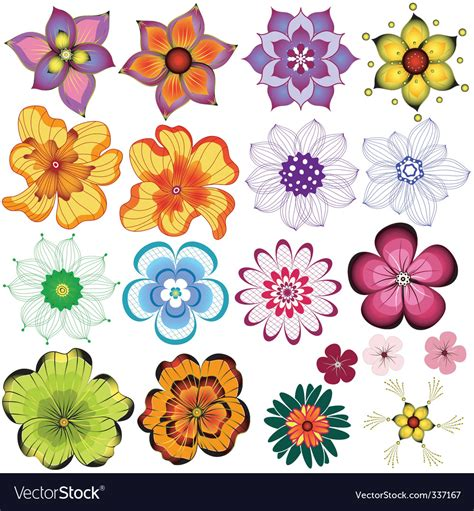 decorative flowers collection decorative flowers royalty free vector image vectorstock