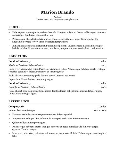 simple cv sles free basic cv templates in microsoft word land the with our free templates
