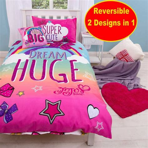 jojo siwa   big bow single duvet quilt cover set girls kids pink bedroom  ebay