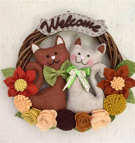 ghirlande fiori ghirlanda di benvenuto con gatti e fiori per la casa e