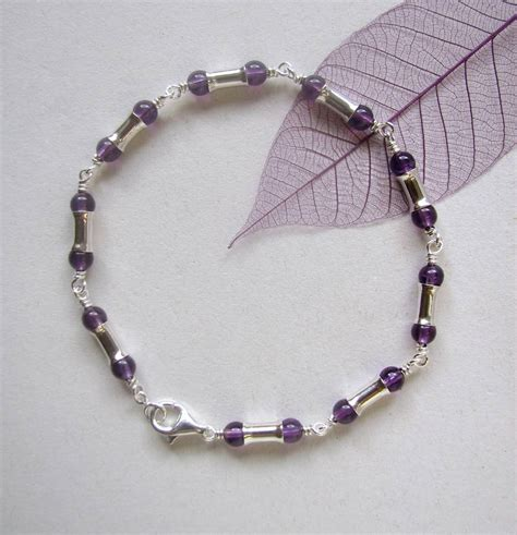 Handmade Amethyst Necklace - amethyst sterling silver handmade cascade necklace by