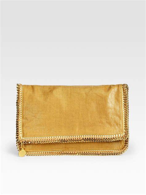 Stella Mccartney Metallic Clutch stella mccartney metallic linen foldover clutch in gold lyst