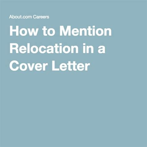 how to mention relocation in a cover letter best 25 cover letters ideas on cover letter