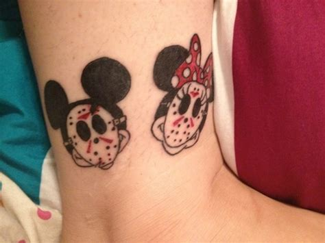 mickey tattoos disney tattoos mickey minnie mouse with jason masks