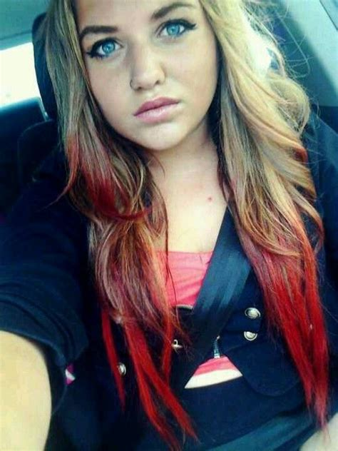 dip dyed red hairstyles red dip dye hair styles and fab colors pinterest