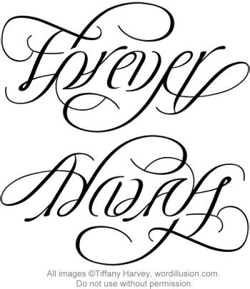 ambigram tattoos for couples quot forever quot quot always quot ambigram v 2 a custom ambigram of