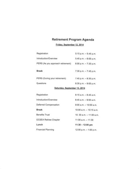 retirement program template 31 agenda exles and templates