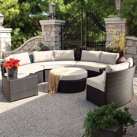 Hayneedle Patio Furniture Belham Living Meridian Outdoor Wicker Patio Furniture Set On Hayneedle With Sunbrella