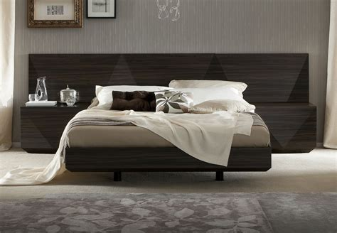 beds headboard lacquered made in italy wood luxury platform bed with two