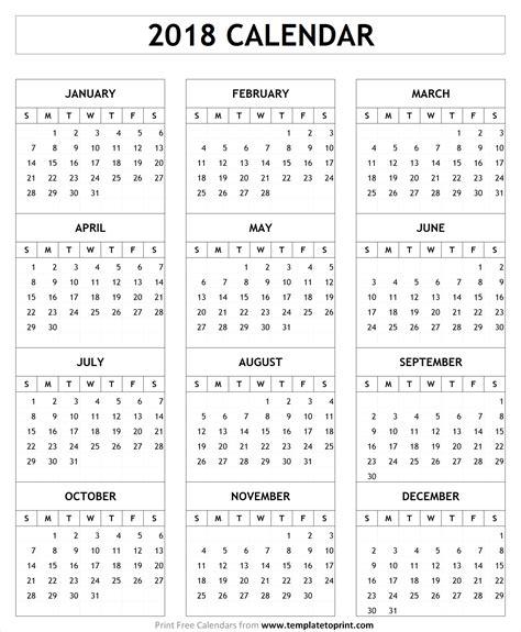 2018 Calendar Template Printable January 2018 To December 2018 2018 Pdf Calendar Template