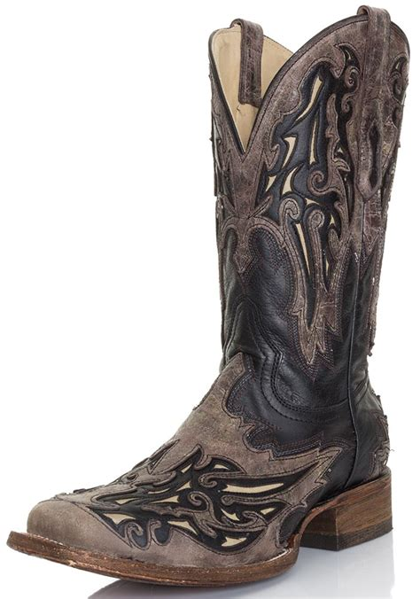 square toe mens cowboy boots corral mens square toe cowboy boots black brown