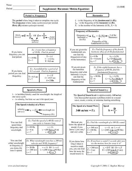 supplement harmonic motion equations answers equations of motion worksheet wiildcreative