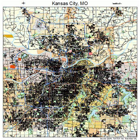 map missouri and kansas kansas city missouri road map mo atlas poster ebay