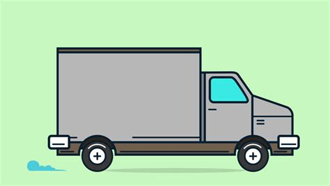 Vans 2d delivery truck animation against the background of city 2d animation moving city background