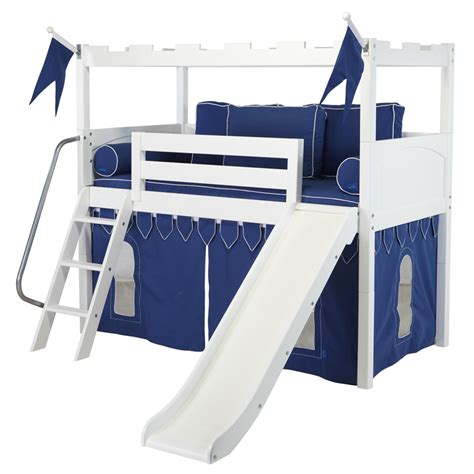 slide beds white camelot castle low loft bed with slide by maxtrix