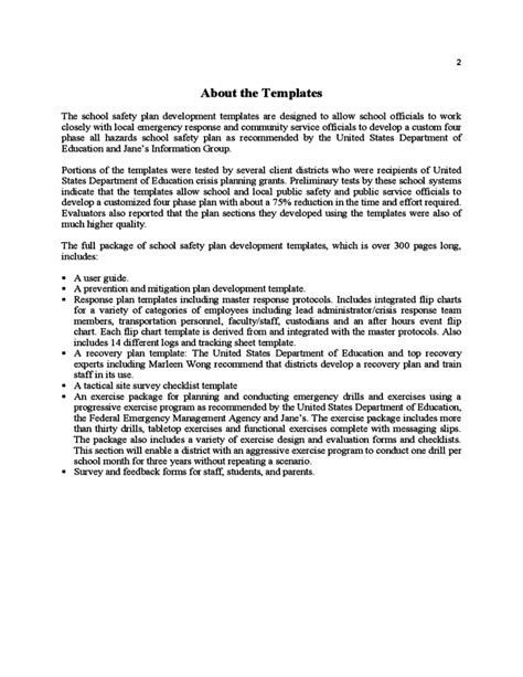 Sle School Safety Plan Template Free Download Nys School Safety Plan Template