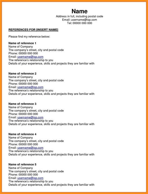 resume reference page template how to write a list of references cn
