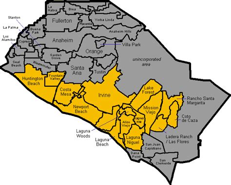 map of orange county orange county map of cities