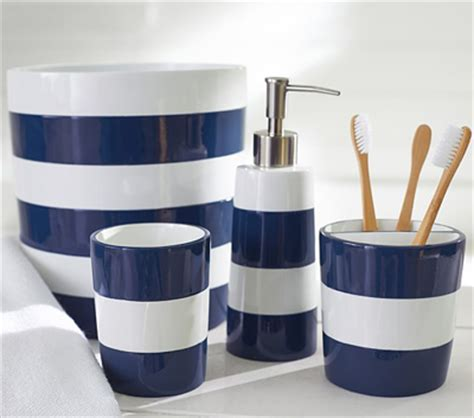 Navy Stripe Bath Accessories I Want That Pinterest Navy Blue Bathroom Accessories