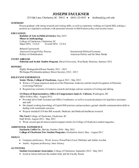Resume Summary Sles For College Students Sle Resume For College Student 10 Exles In Word Pdf