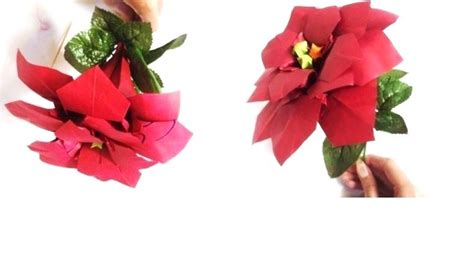 Origami Poinsettia Flower - origami poinsettia flower by lycorisa on deviantart
