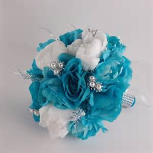 turquoise corsage 13pc turquoise white wedding bouquets boutonnieres corsages peony silver ebay