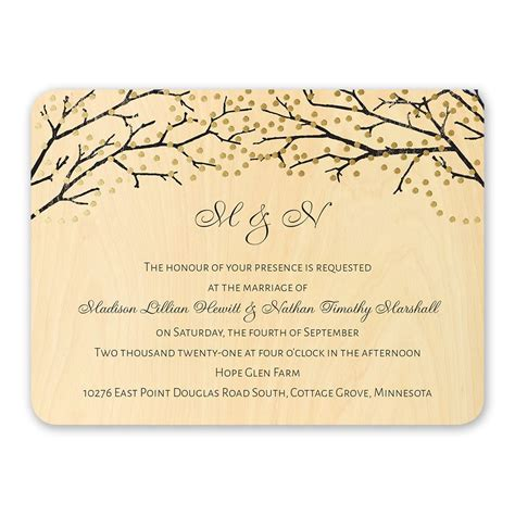 real wood wedding invitations wording sparkling canopy real wood invitation with foil