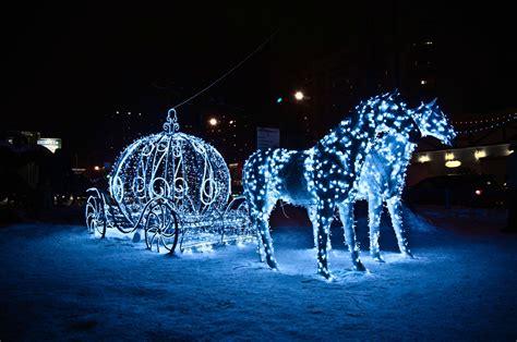 Horses Light Holiday Coach Vehicles Princess Winter Cinderella Carriage Lights