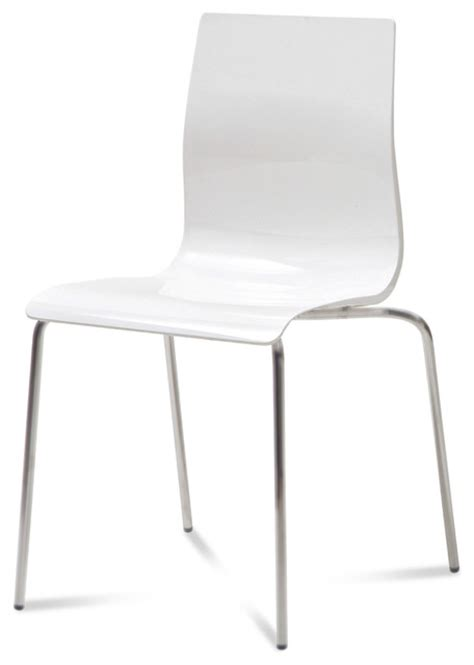 gel b stackable dining chair white set of 2 modern