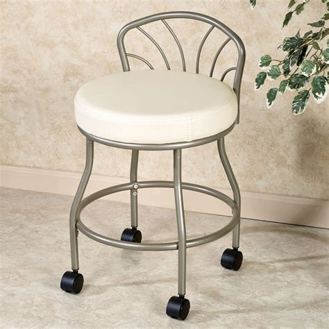 Bathroom Vanity Chair Flare Back Powder Coat Nickel Finish Vanity Chair With Casters
