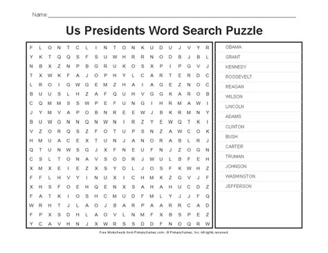 Us Search For Free Presidents Day Worksheets Us Presidents Word Search Primarygames