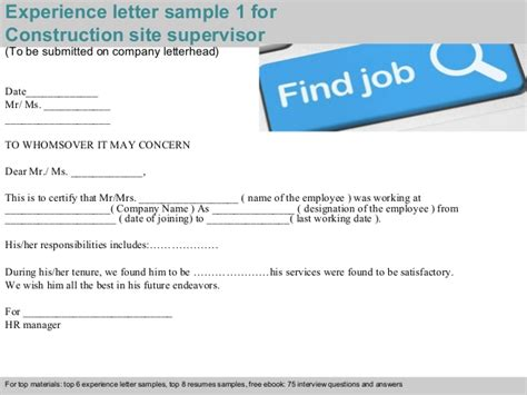 Experience Letter Construction Company Construction Site Supervisor Experience Letter
