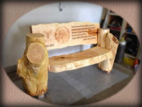 unusual wooden benches personalized carved memorial