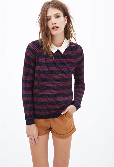 knitted sweaters forever 21 forever 21 striped cable knit sweater in blue lyst