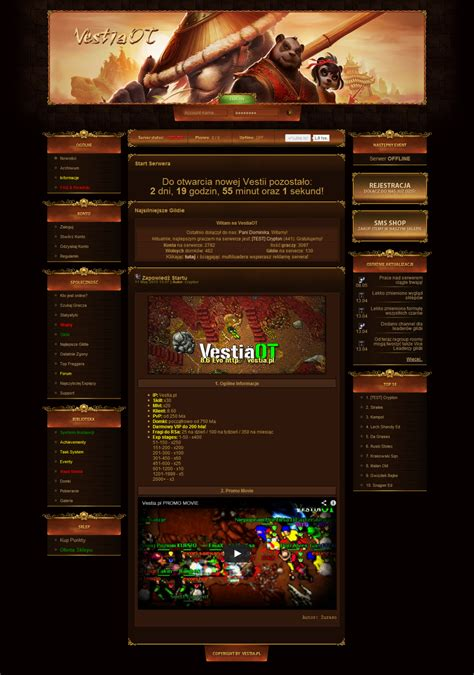 layout game html game template rpg tibia world of warcraft by