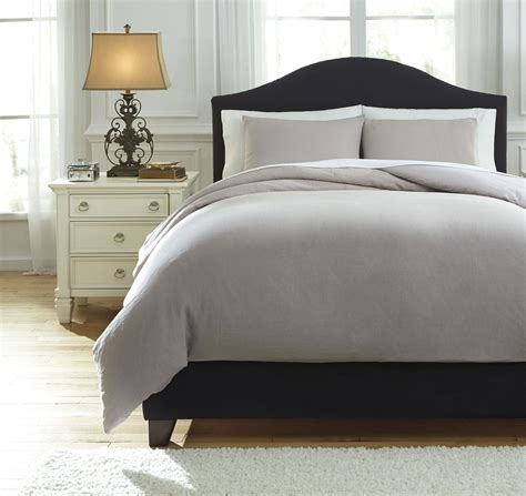 light grey duvet cover queen bergden light gray queen duvet cover set from ashley