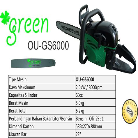 Gergaji Mesin Chainsaw Mini harga jual green ou gs6000 gb mesin gergaji kayu chainsaw