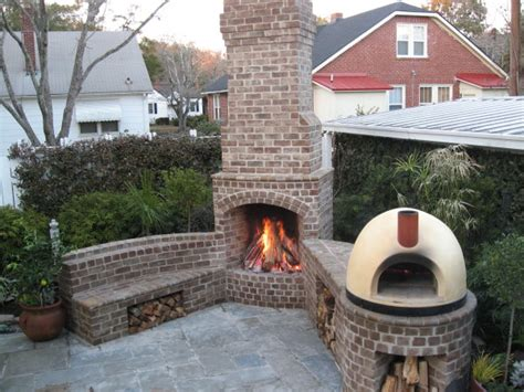 Backyard Brick Fireplace by Patios Outdoor Fireplaces Kitchens And Patios In
