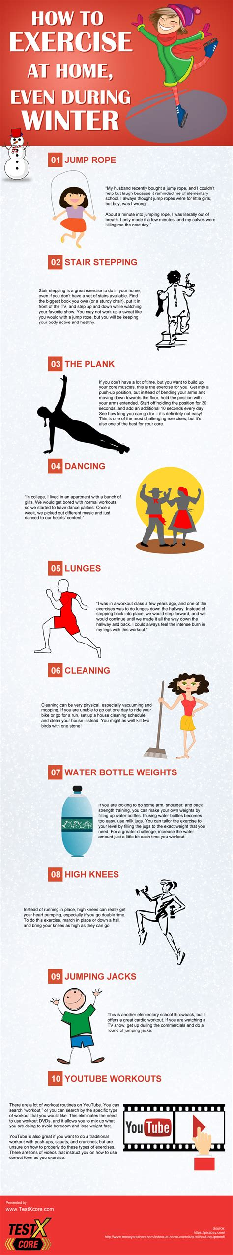 how to exercise at home during winter submit infographics
