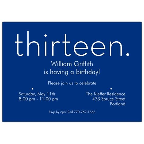 13th birthday invitations templates thirteen blue 13th birthday invitations paperstyle