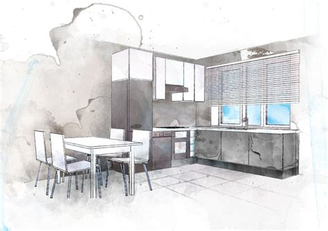 boceto cocina acuarela croquis interiores watercolour searching and design