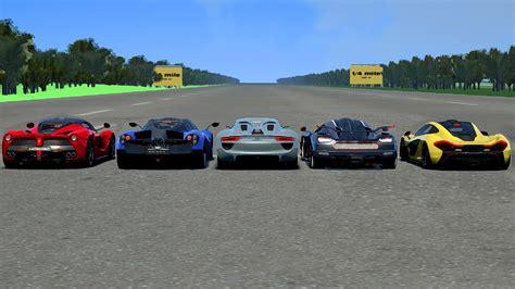 koenigsegg porsche ac hyper car drag race laferrari vs porsche 918 vs