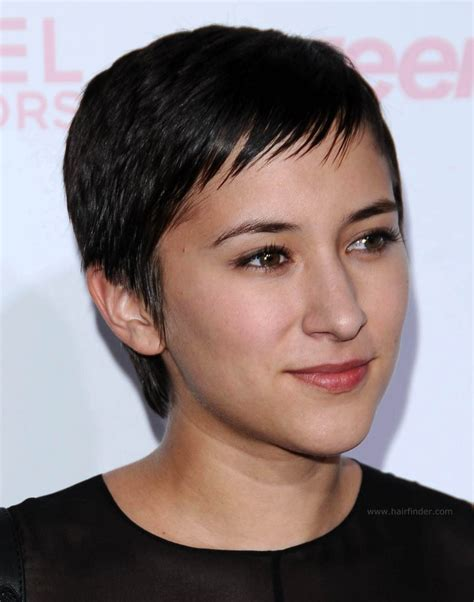 zelda williams super short black hair with a longer nape