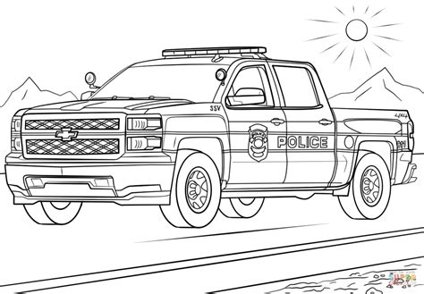 printable coloring pages police car