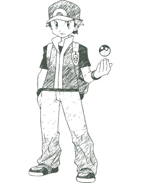 pokemon trainer coloring pages pokemon trainer red by redgaijin1991 on deviantart