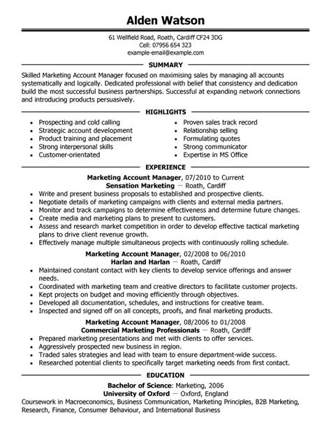 Resume Summary Exles Marketing Manager Best Account Manager Resume Exle Livecareer